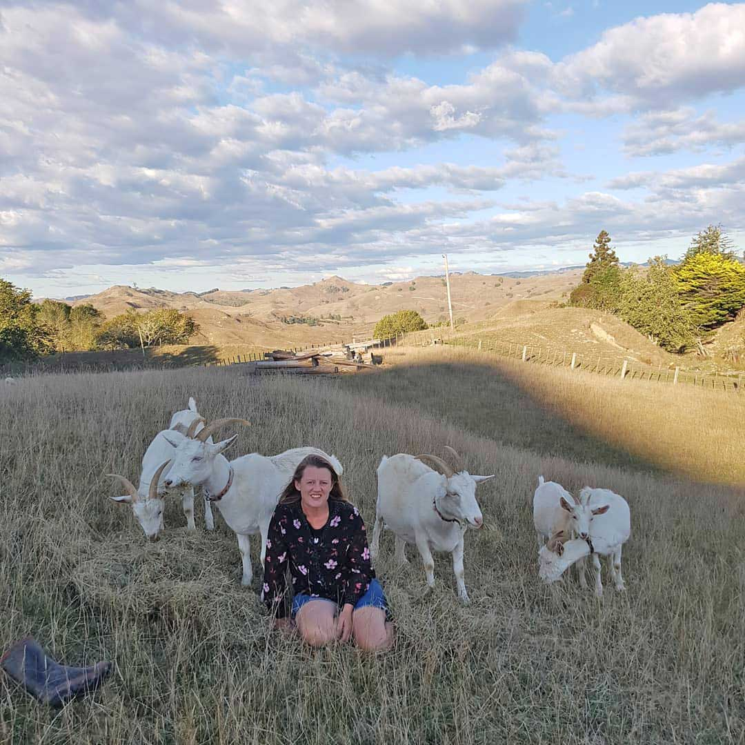 Helen and her milking goats (Mokau Soaps)